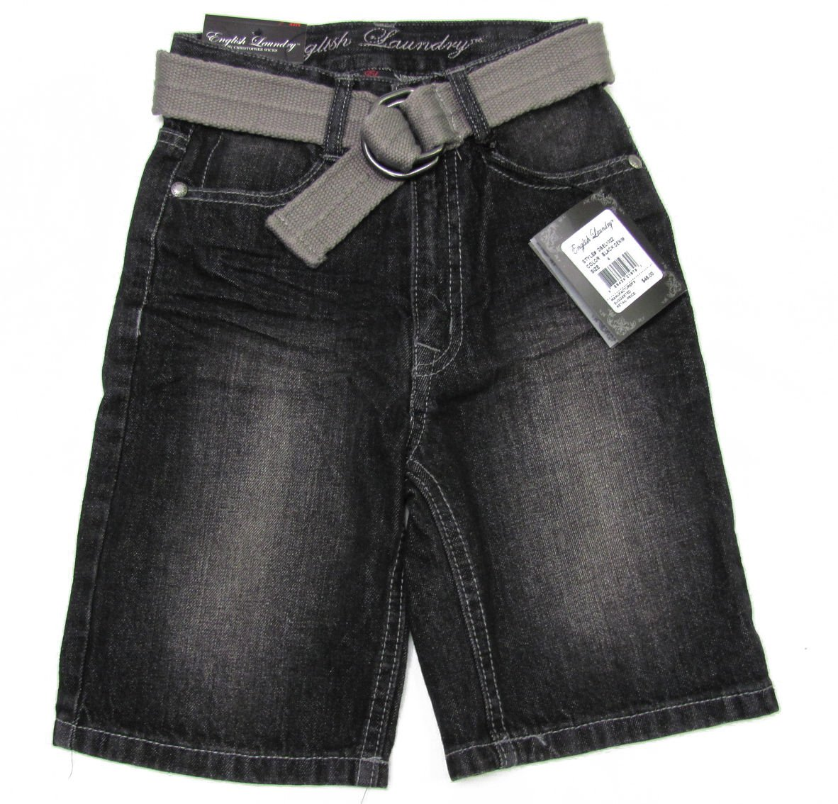 English Laundry Boys size 12 Black Jean Shorts with Belt New