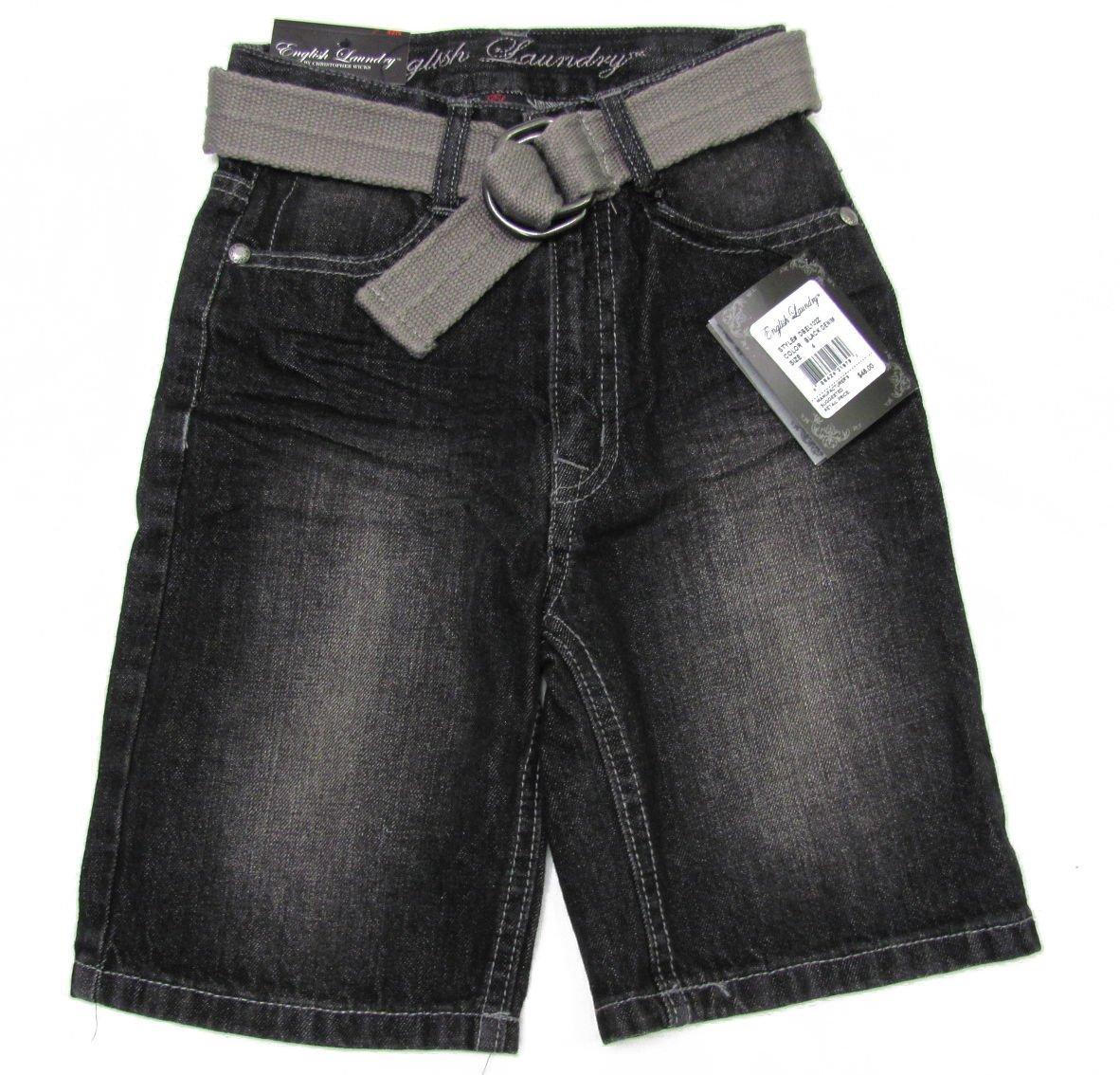 English Laundry Boys size 6 Black Jean Shorts with Belt New