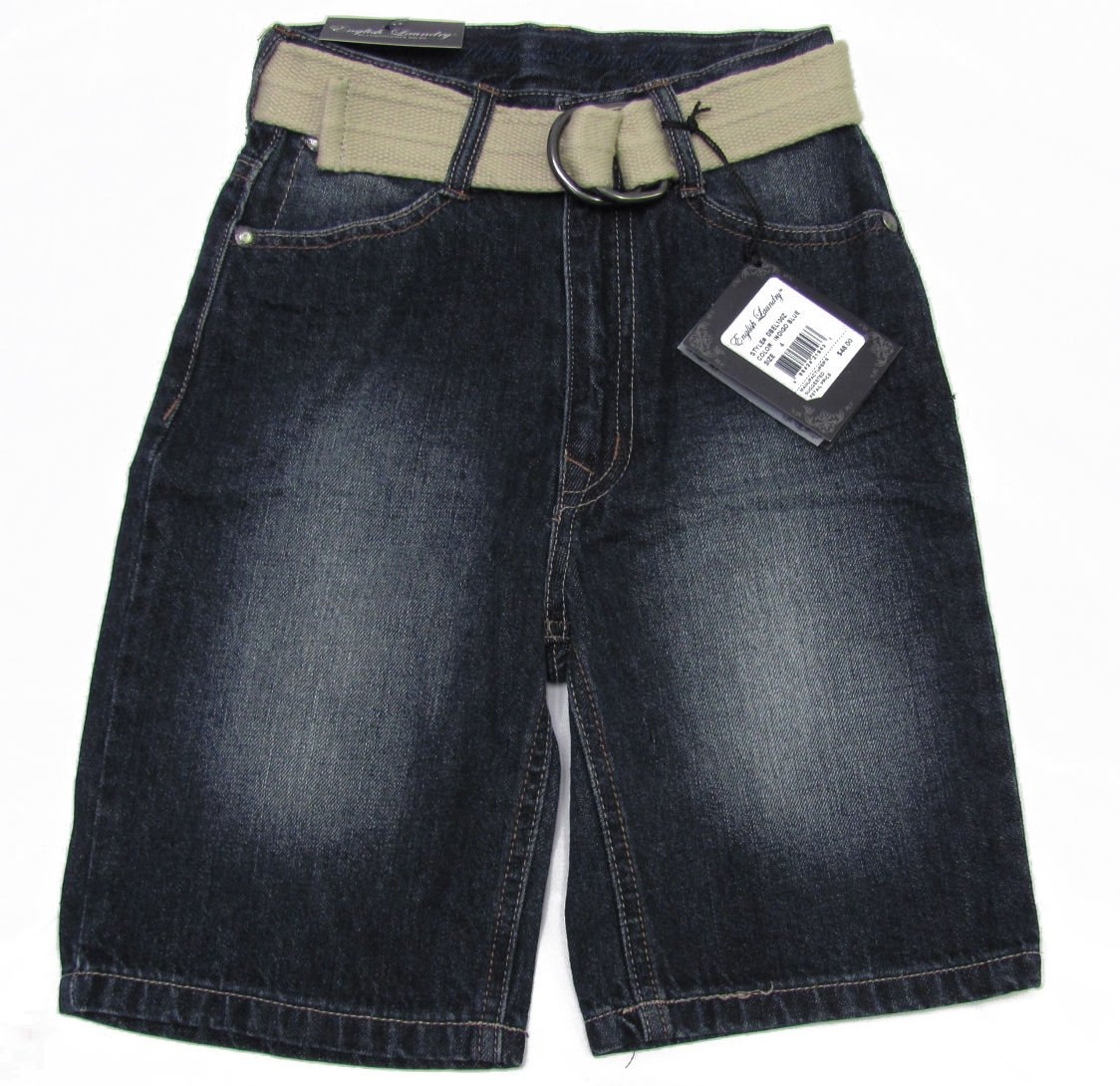 English Laundry Boys size 12 Dark Blue Jean Shorts with Belt New