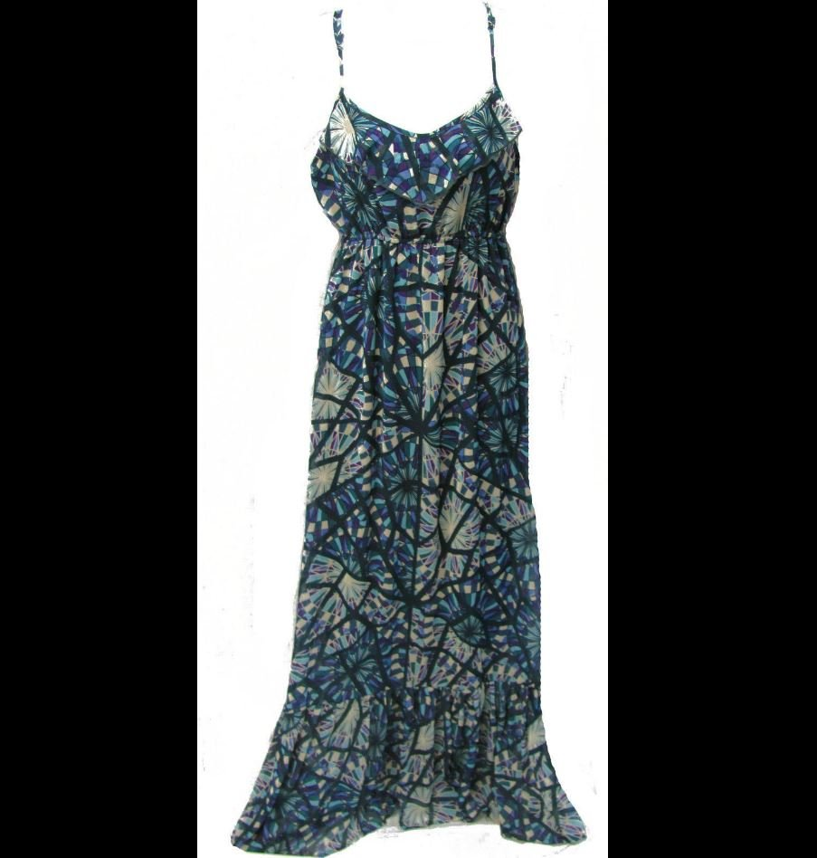 Eyelash Couture Juniors M Blue and Purple Stained Glass Long Dress Medium