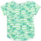 Arizona Girls 2T Green and Floral Stripe Shirred Tee with Keyhole Back Toddler