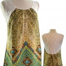 Available Juniors S Leopard Print Tank Top Tunic Shirt with Sheer Lace Back Teal Green