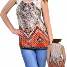 Available Juniors M Leopard Print Tank Top Tunic Shirt with Sheer Lace Back Rust Red