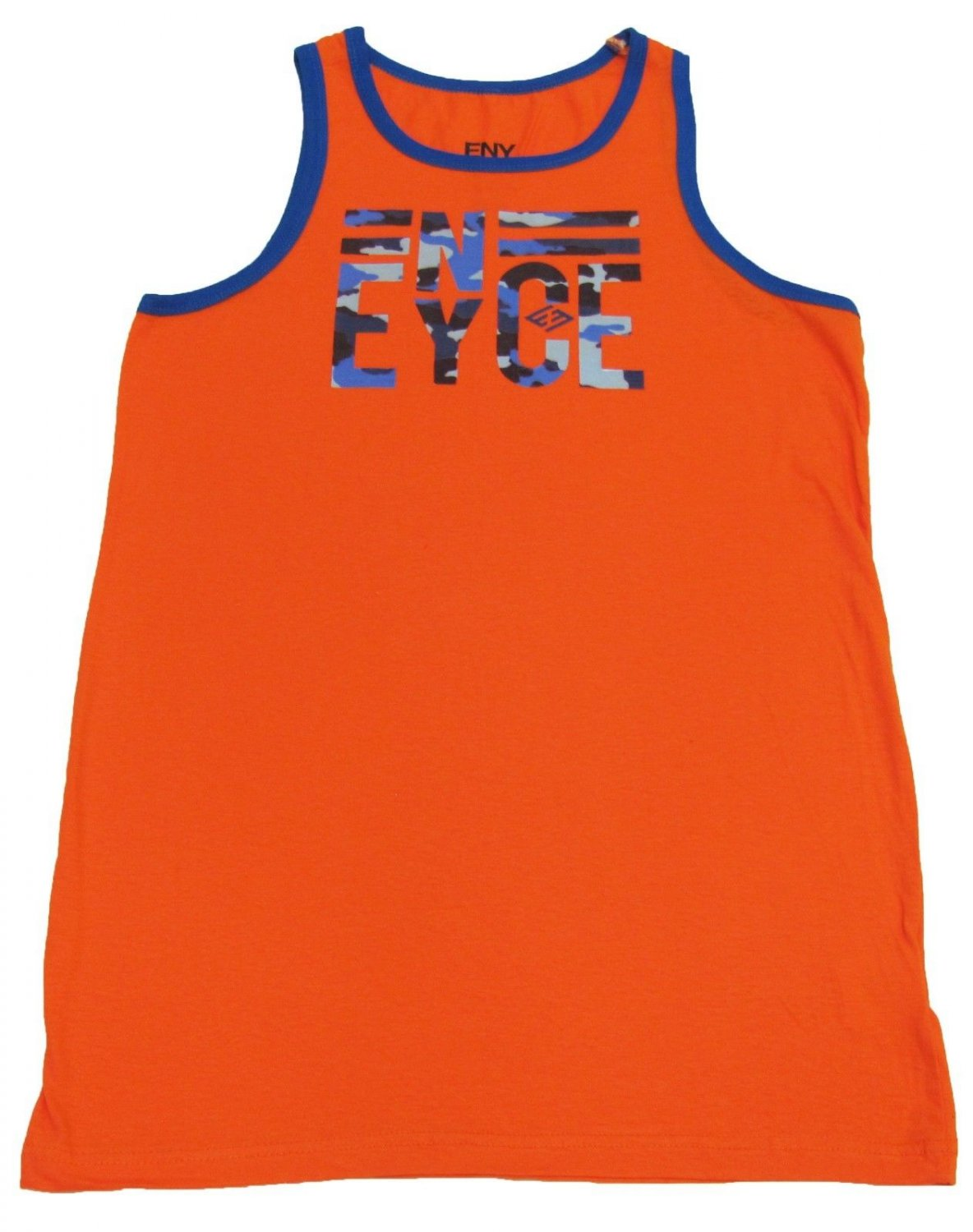 Enyce Boys XL 18-20 Orange Tank Top Shirt with Blue Camo Logo Youth Extra Large