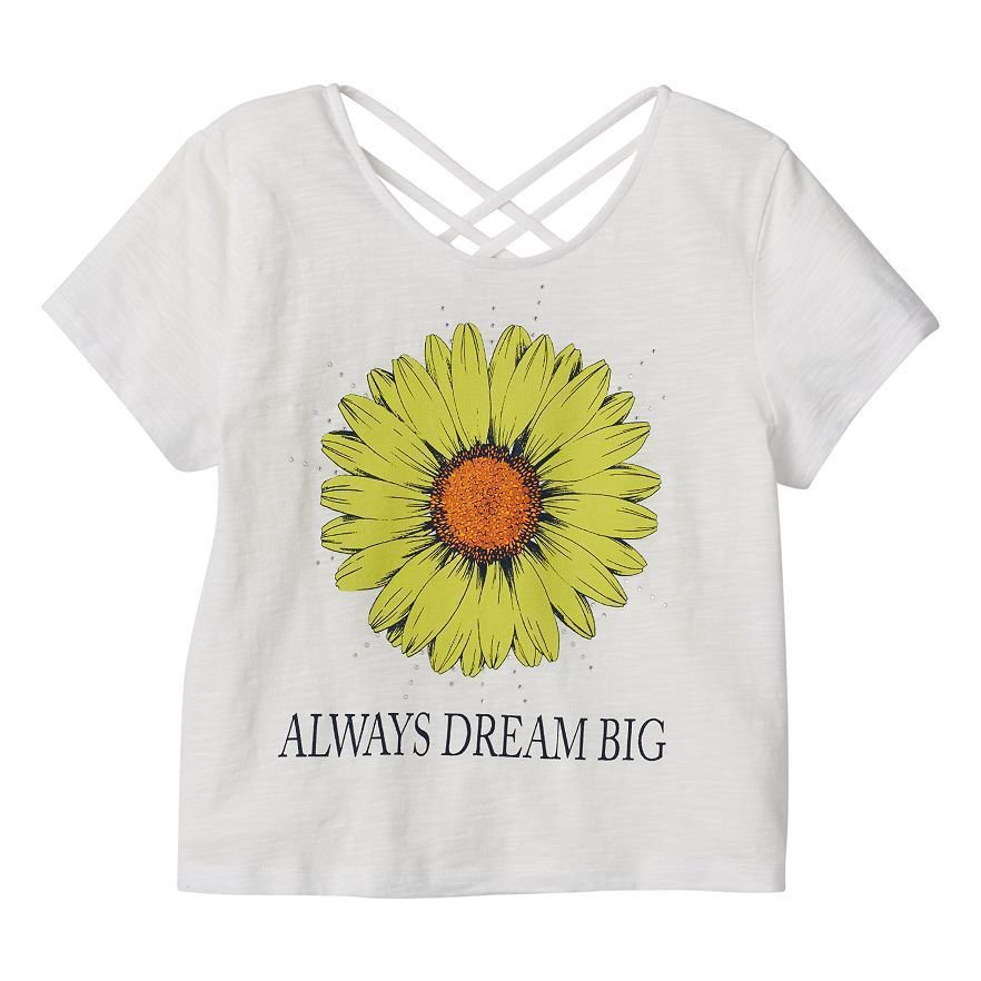 Disney girls 6 sunflower tee shirt with criss cross back for Oversized disney t shirts
