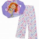 Disney Girls size 8 Princess Sofia Long Sleeve Fleece Pajama Shirt and Pants Set