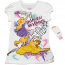 Disney Girls Size 5 Princess at Heart Tee Shirt White T-shirt Rapunzel Belle