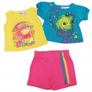 Disney Baby Girls 24 Months Winnie the Pooh 3-Piece Shirt and Shorts Set Blue Yellow Pink