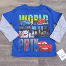 Disney Cars 2 Boys size 2T Blue Long Sleeve T-shirt Lightning McQueen Tee