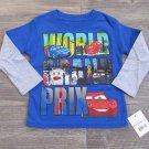 Disney Cars 2 Boys size 2T Blue Long Sleeve T-shirt Lightning McQueen Tee