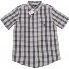 DC Shoes Mens S Eschaton Gray Plaid Short Sleeve Button-down Shirt Small