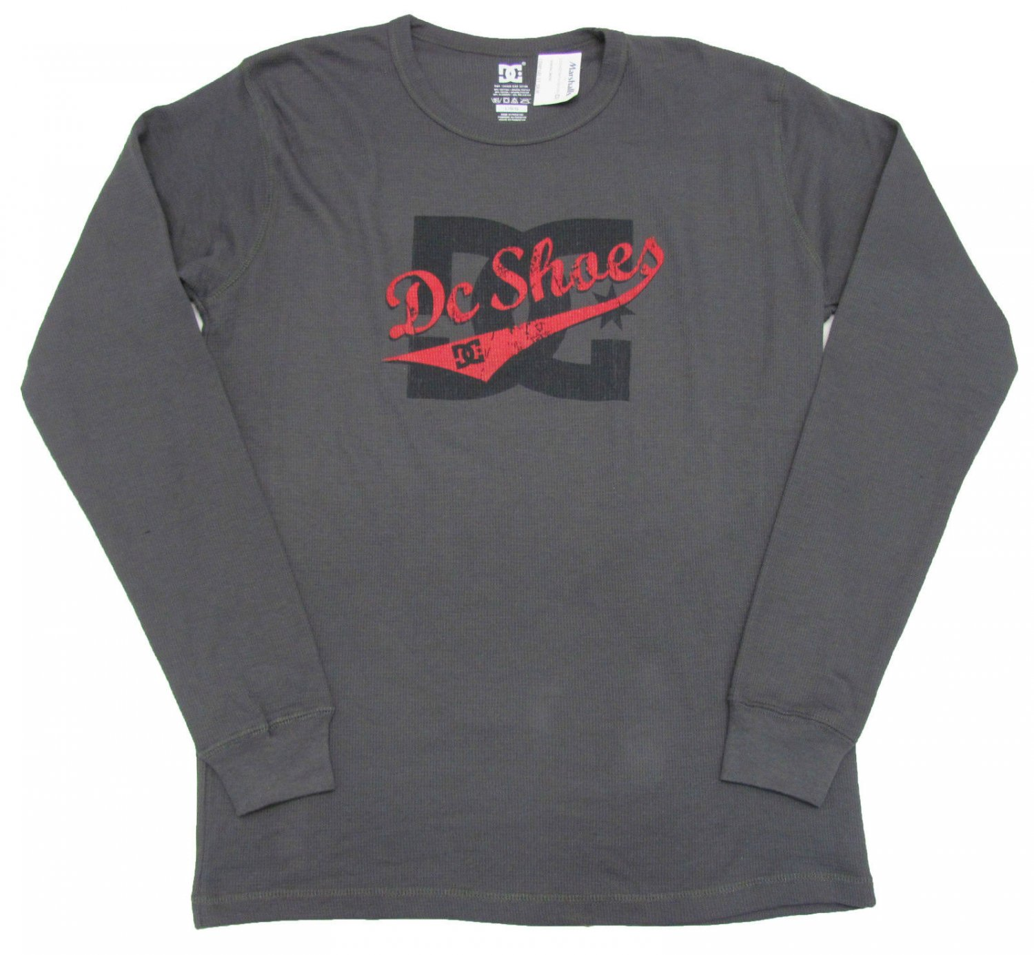 DC Shoes Mens S Dark Gray Thermal Shirt with Black Red Logo Small Long Sleeve