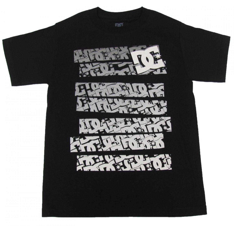 DC Shoes Mens S Stickers Tee Shirt Black T-shirt with Gray Logo Stripes Medium New