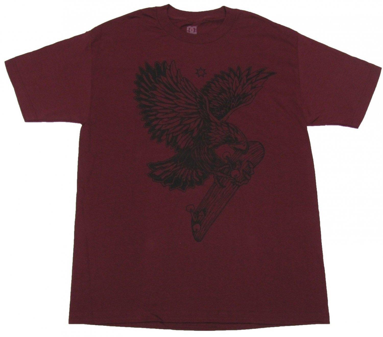 DC Shoes Mens L Woodpusher Tee Shirt Eagle Hawk Skateboard T-shirt Burgundy Large