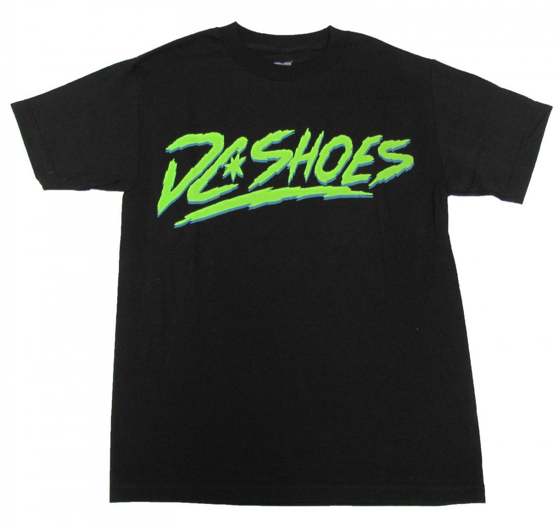 DC Shoes Mens M Dynamo Tee Shirt Black T-shirt with Green Logo Medium
