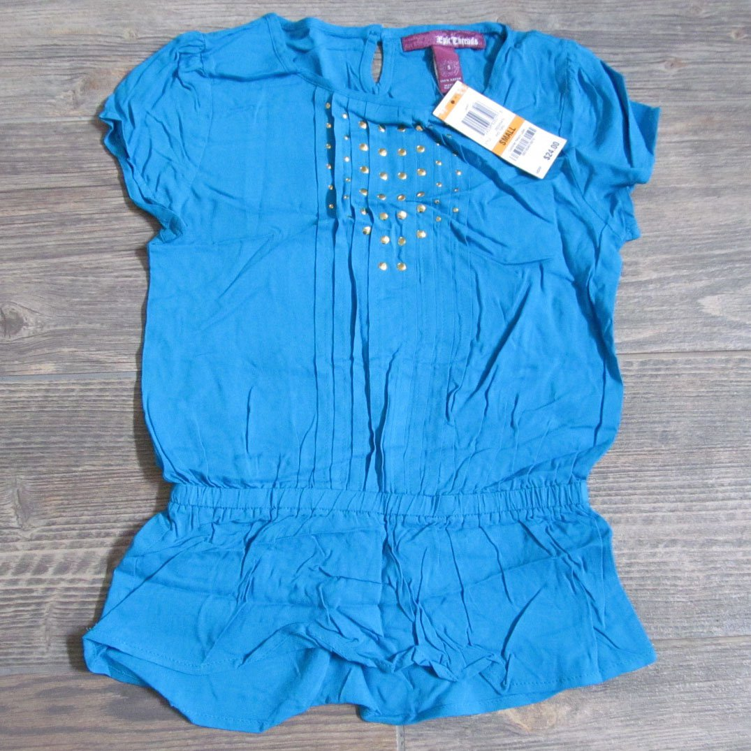 Epic Threads Girls S Blue Pleated Peplum Shirt with Keyhole Back Youth Small