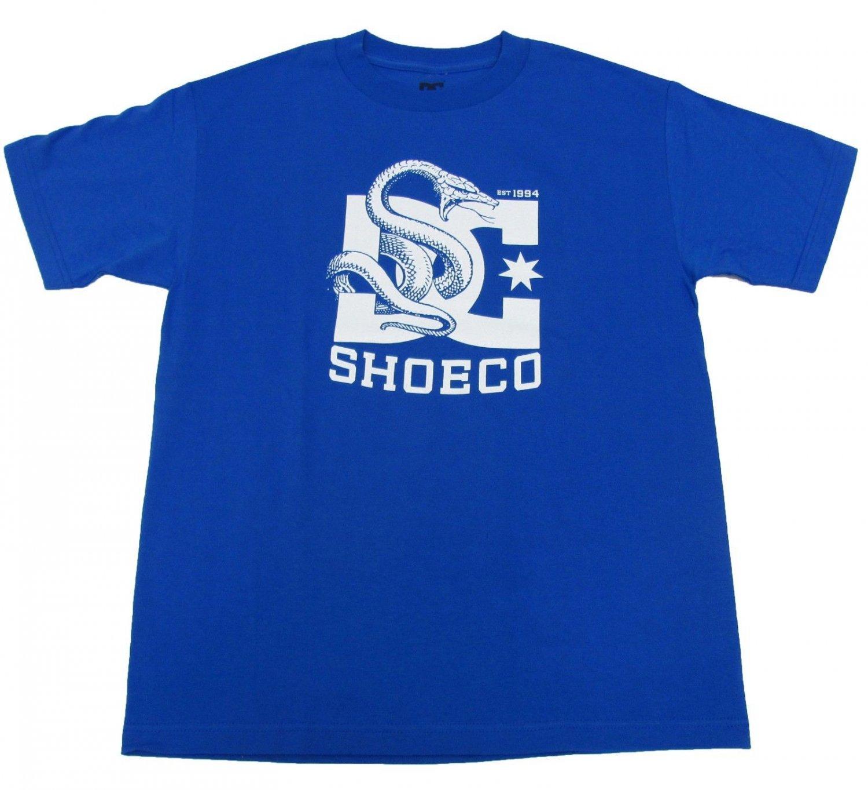 Dc Shoes Mens M Wrap Around Tee Shirt Blue and White Snake T-shirt Medium New