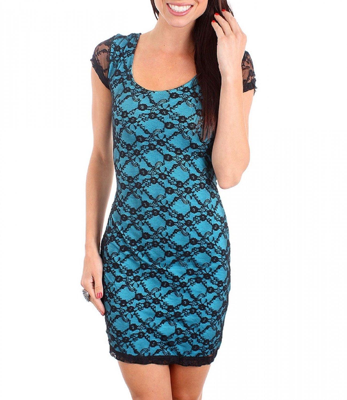 Derek Heart Juniors M Blue Stretch Mini Dress w Black Lace Overlay & Criss-Cross Cut-Out Back