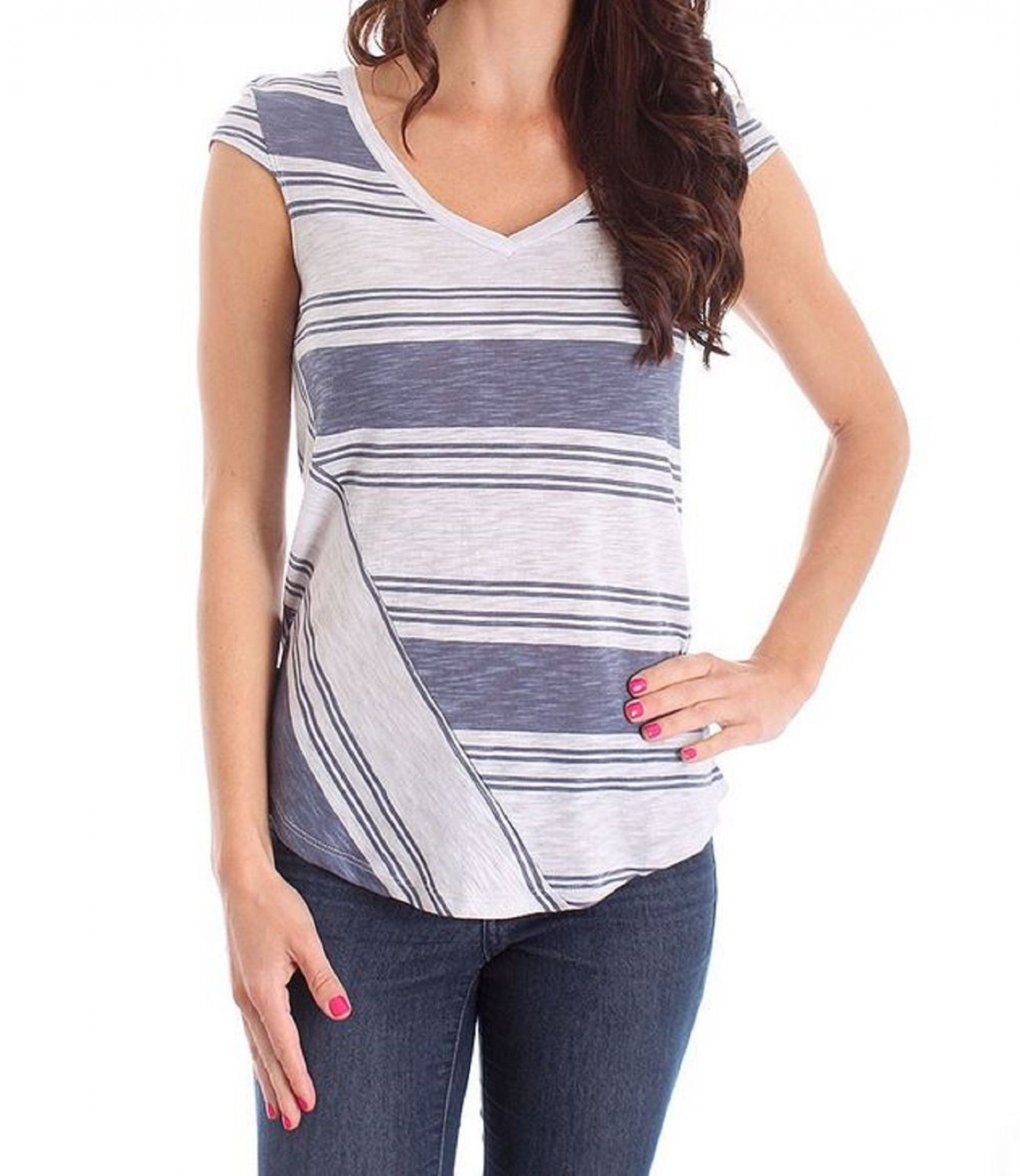 Derek Heart Juniors S Gray Stripe V-neck Tee Shirt Small New