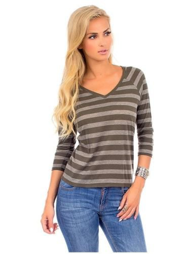 Derek Heart Juniors S Gray Stripe V-neck Tee Shirt 3/4 Sleeve Small New
