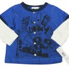 DKNY Baby Boys 6-9 Mos Blue Snap Tee Shirt with Long Thermal Sleeves Infant T-shirt