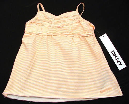 DKNY Baby Girls 18 Mos Orange Stripe Tank Top Cami Shirt