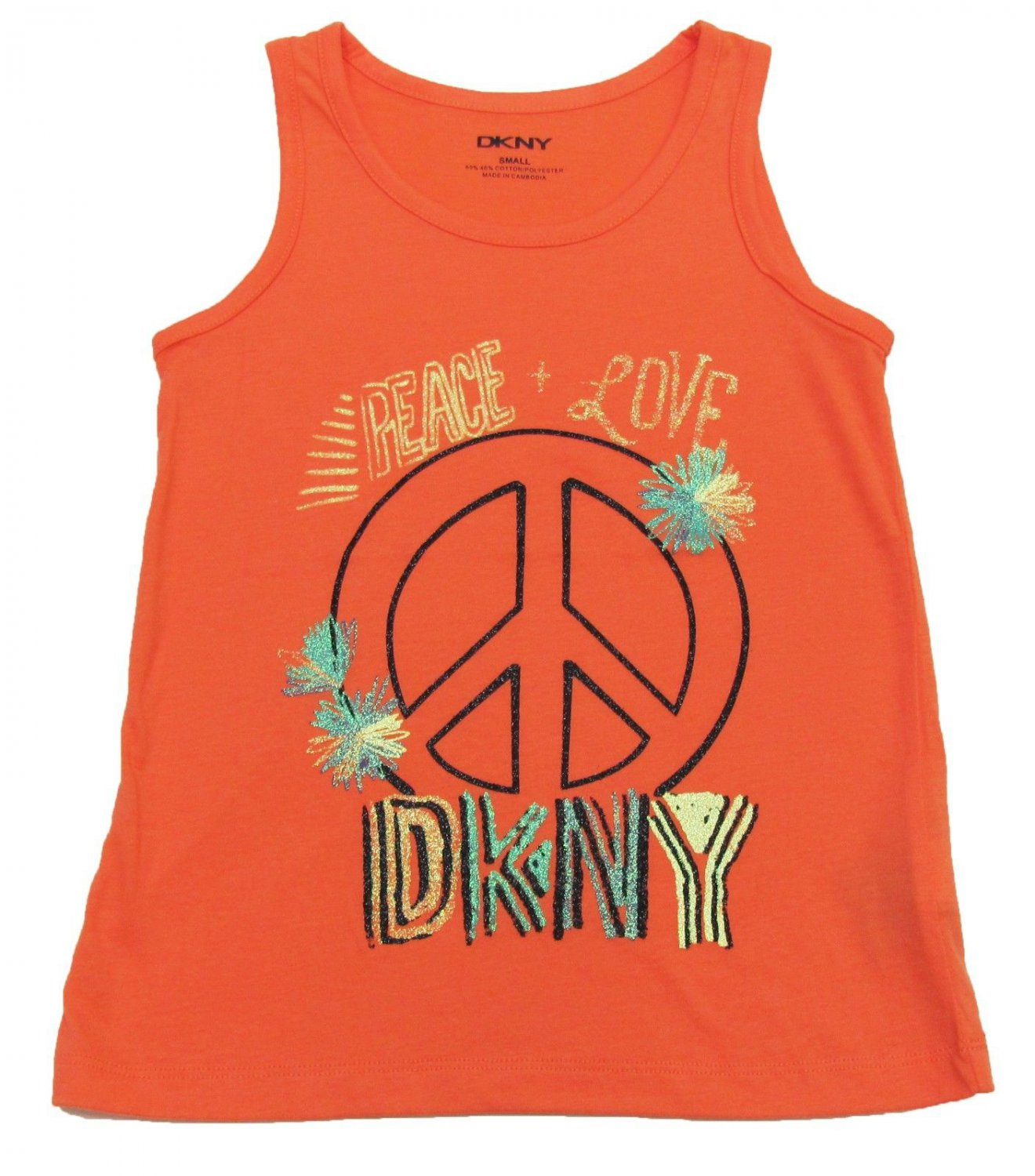 DKNY Girls S Peace and Love Glitter Graphic Tank Top Shirt Sassy Salmon Orange