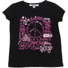 DKNY Girls size 5 City Peace Graphic Tee Shirt Kids Black T-shirt New