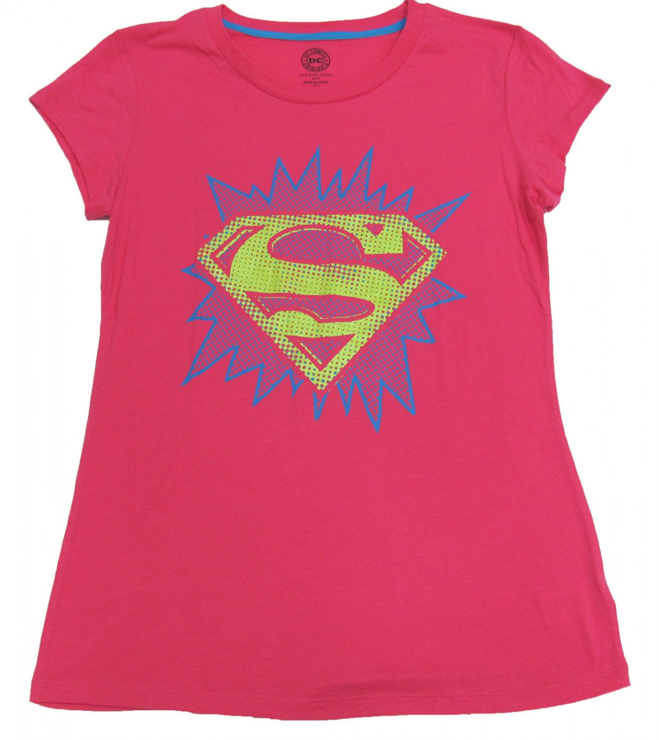 DC Comics Juniors L Bright Pink Superman Tee Shirt Sleepwear T-shirt Large