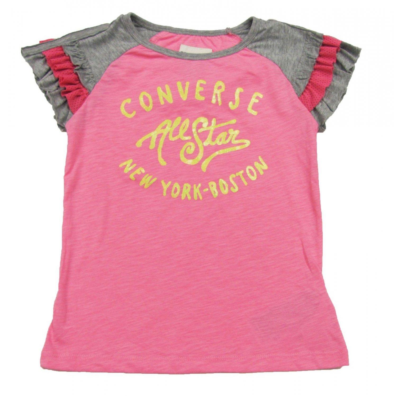 Converse Girls M Ruffle Sleeve T-shirt Black Shirt with Pink Logo Logo Tee Shirt size 10-12