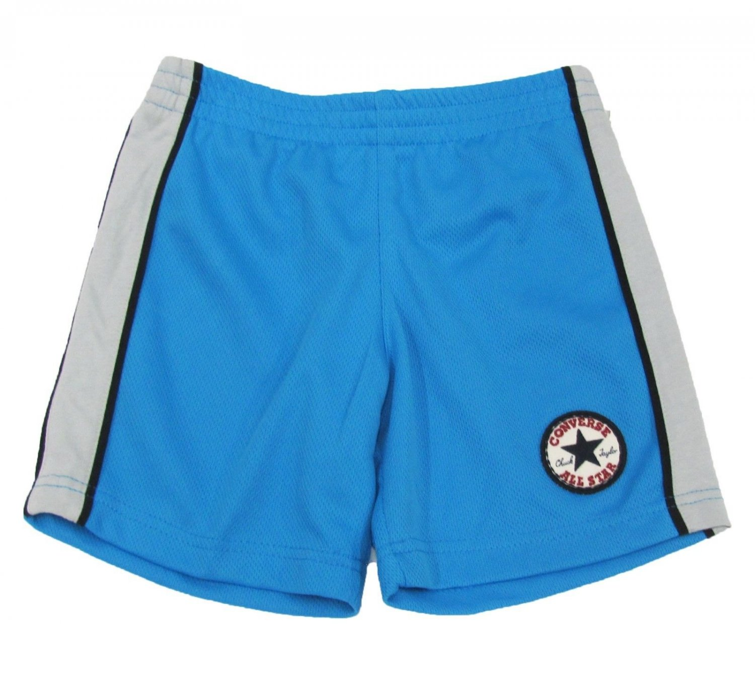Converse Boys 4 Blue Gym Shorts with Gray Stripes Kids New