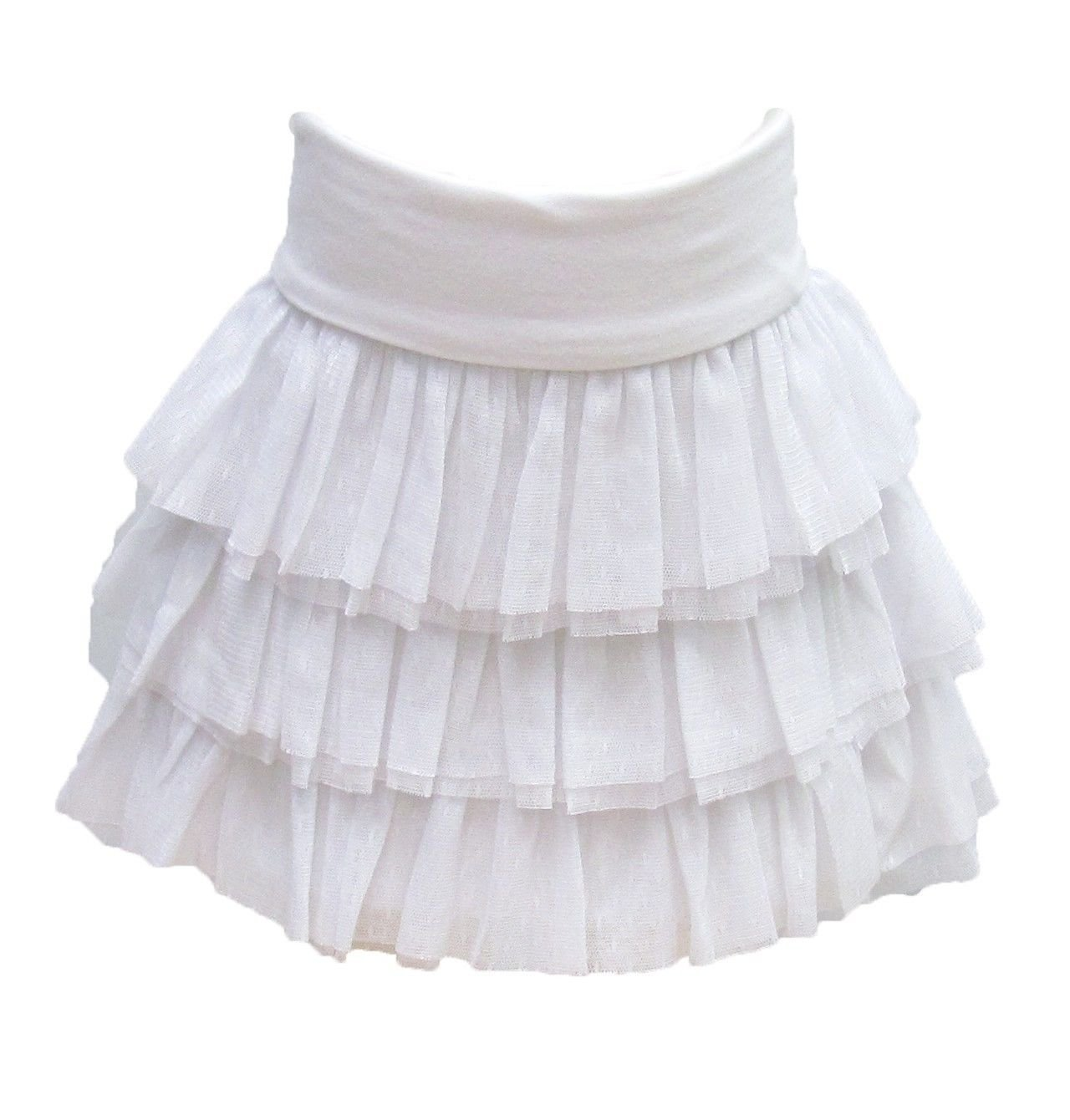 The Childrens Place Girls 5 Skirt Tulle Ruffle White with Fold Over Waistband