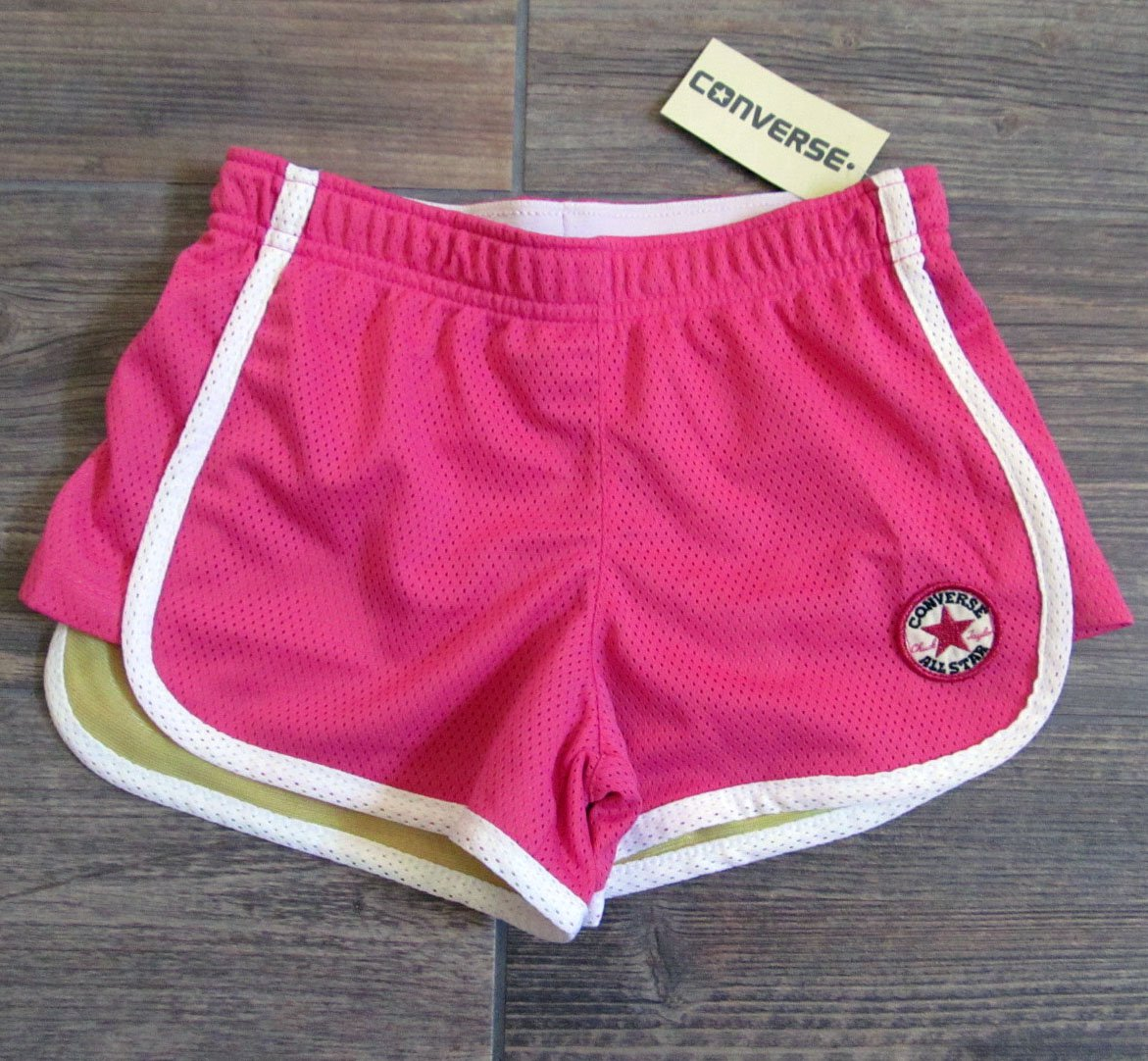 Converse Girls 6X Pink Gym Shorts with Fold Over Waistband Athletic Mesh New