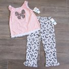Calvin Klein 24 Months Pink Butterfly Tank Top Shirt Floral Leggings Baby Girls 2-Piece Set