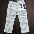 Chaps Womens size 2 Denim Capris Blue and White Tie Dye Jean Crop Pants