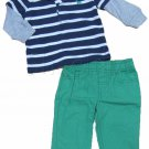 Carters Boys 12 Mos 2-Piece Navy Blue Stripe Polo Shirt and Green Khaki Pants Set