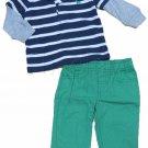 Carters Boys 12 Mos 2-Piece Navy Blue Stripe Polo Shirt and Green Khaki Pants Set