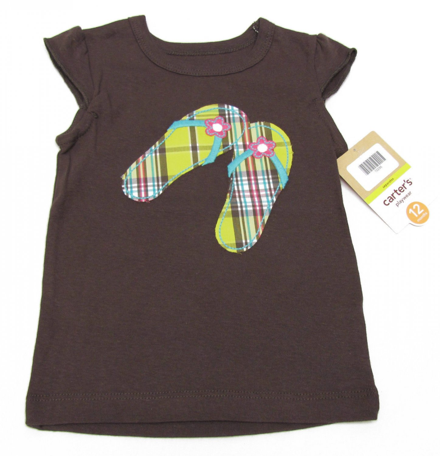 Carters Girls 12 Months T-shirt Dark Brown Summer Tee Flip Flops Design Baby