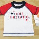 Carters NB Surf Shirt Swim Shirt Rashguard Little Firecracker Newborn Baby 0 mos