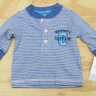 Carters 3 Months Long Sleeve Shirt Mommy's Captain Tee Shirt Blue Stripe Baby Boys