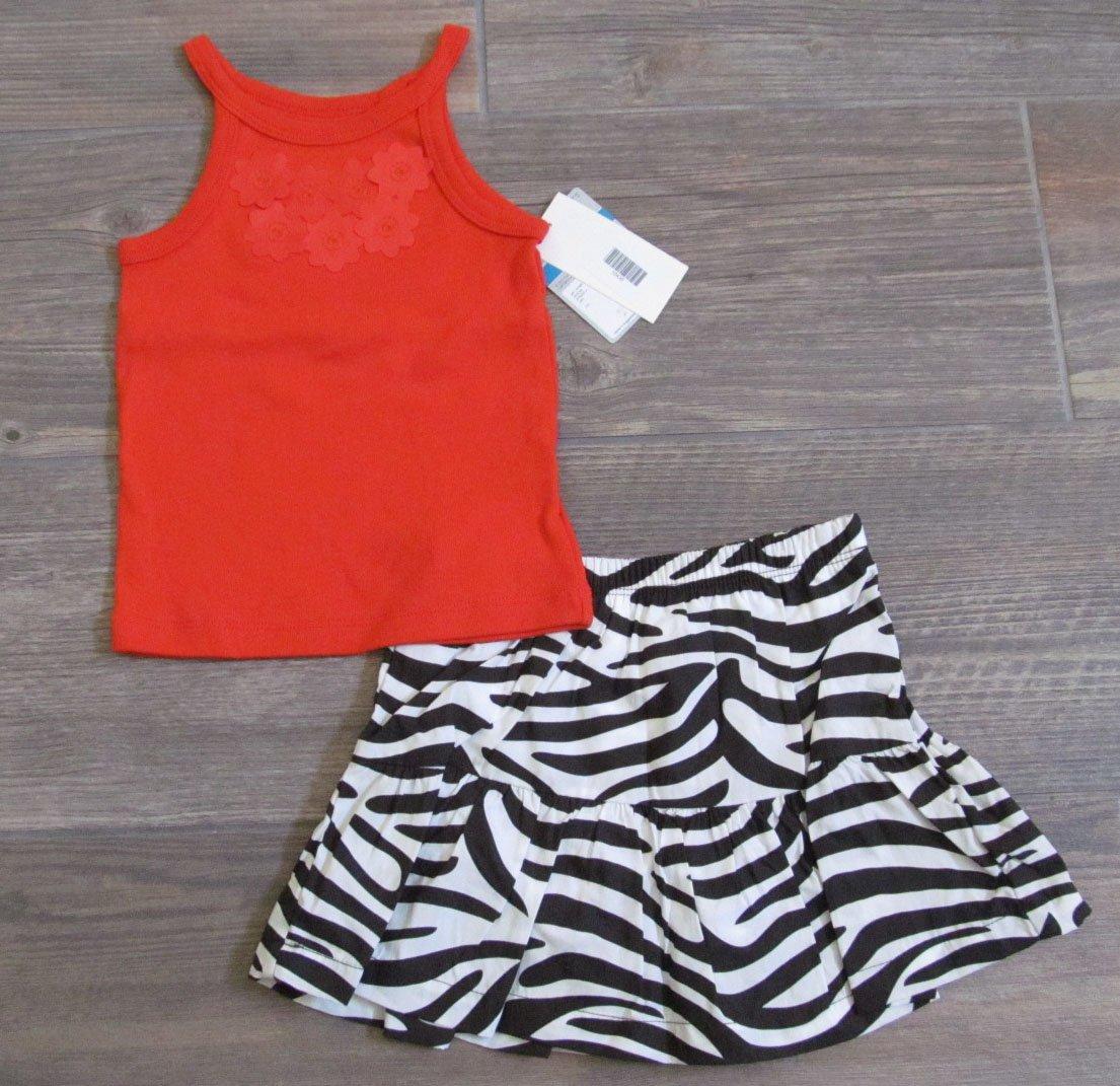 Carters 24 Months 2-Piece Set Shirt and Zebra Print Scooter Skirt Set Baby Girls New