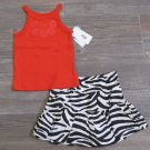Carters 3 Months 2-Piece Set Shirt and Zebra Print Scooter Skirt Set Baby Girls New