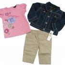 Calvin Klein Jeans 12 Mos Girls 3-Piece Set Denim Jacket Pink Shirt Khaki Pants New