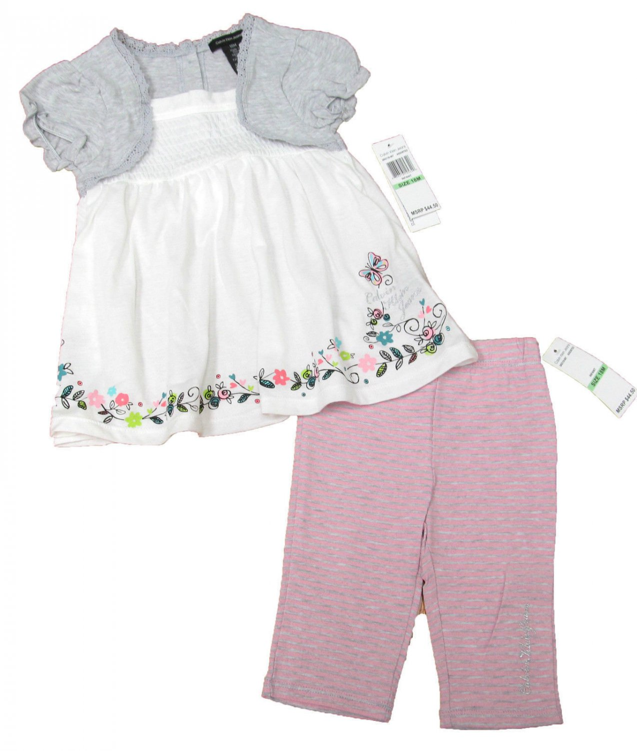 Calvin Klein Jeans 24 Months Peasant Shirt and Pink Stripe Leggings Baby Girls 2-Piece Set