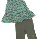 Calvin Klein Jeans 24 Mos Girls 2-Piece Set Blue Floral Tank Top Shirt Green Leggings