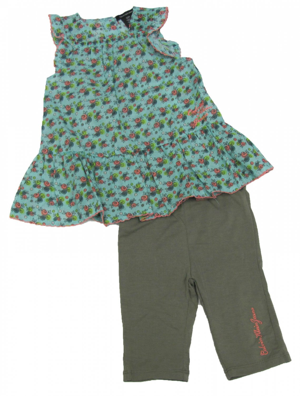 Calvin Klein Jeans 18 Mos Girls 2-Piece Set Blue Floral Tank Top Shirt Green Leggings