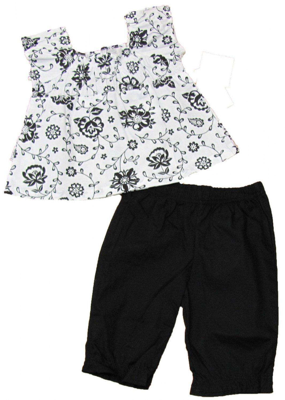 Calvin Klein 3-6 Mos Baby Girls 2-Piece Set White Floral Peasant Shirt Black Pants