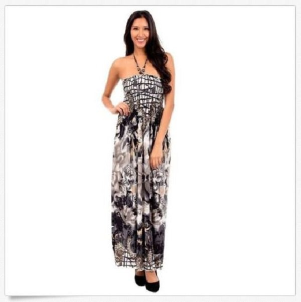 Cristina Love Maxi Dress L Juniors Gray Floral Smocked Long with Halter Strap Large