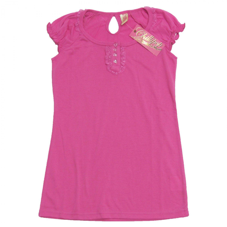 Chillipop Girls M Shirt Pink Cap Sleeve Shirt with Keyhole Back Medium 10/12