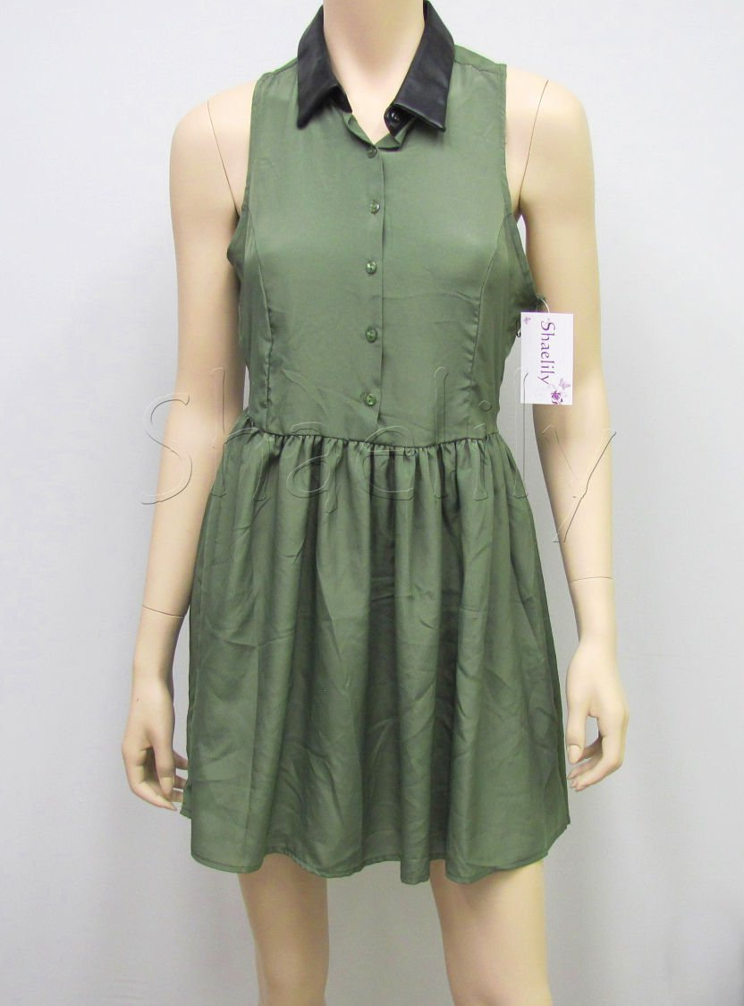 Ali and Kris Juniors L Dress Olive Green Button-down Sleeveless Above Knee Large New